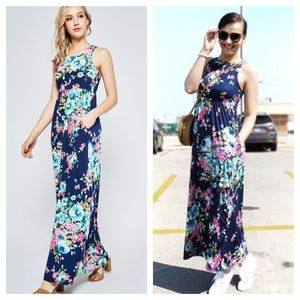 LAST 2 - Navy Floral Print Maxi Dress With Pockets